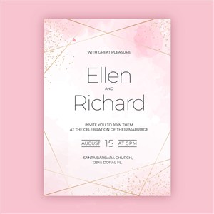 粉色水彩金边边框邀请函海报背景矢量模板