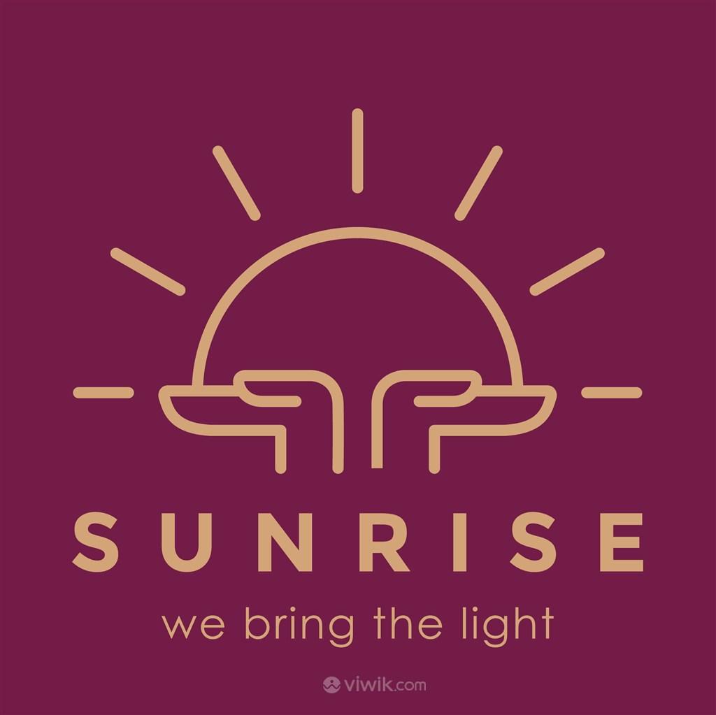 手捧太阳线性图标贸易公司矢量logo设计素材