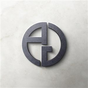 石头材质3D立体圆形logo贴图样机