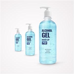 3瓶蓝色凝胶洗手液按压泵瓶贴图样机