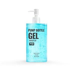 藍色凝膠洗手液按壓泵瓶貼圖樣機
