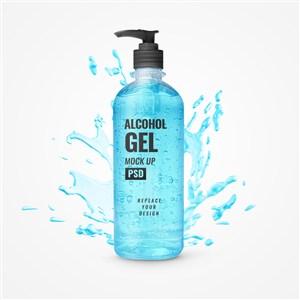 有濺出效果的藍色凝膠洗手液瓶貼圖樣機