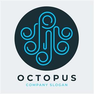 线性章鱼图标餐饮矢量logo