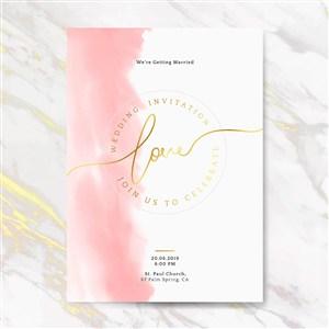 粉色水彩晕染婚礼邀请函背景底纹矢量模板