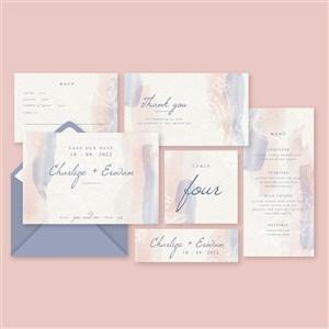 粉蓝水彩晕染线描花纹邀请函矢量模板