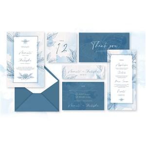 浅蓝水彩线描花纹邀请函名片背景底纹矢量模板