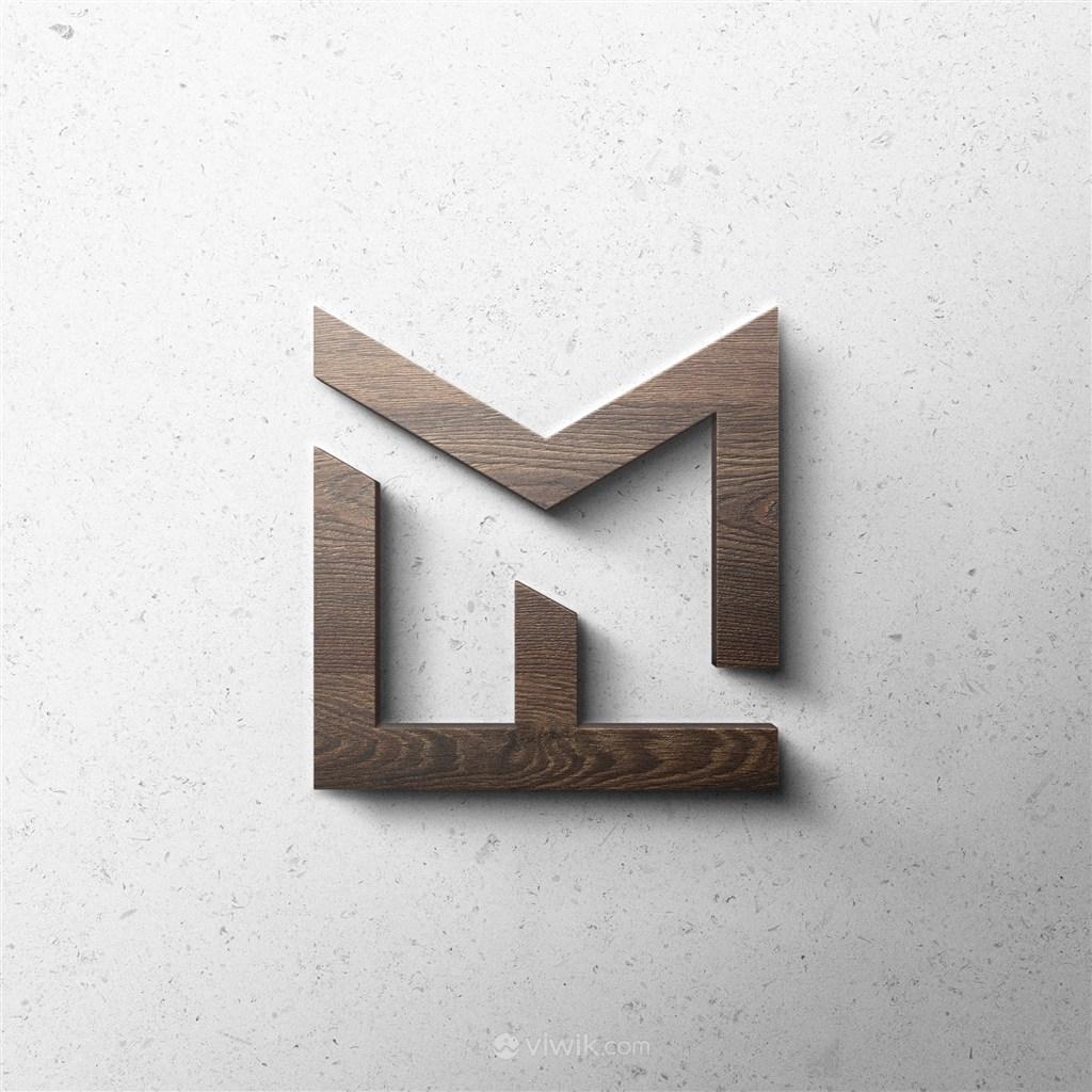 木质3D立体logo贴图样机