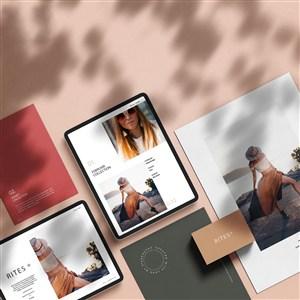 女性时尚品牌vi平板电脑宣传单贴图样机