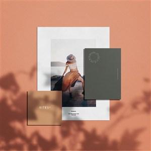 女性时尚品牌vi宣传单卡片贴图样机
