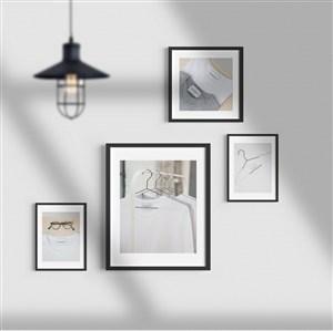 带吊灯和阴影的组合相框贴图样机