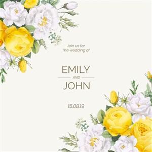 唯美黄白色鲜花花边花纹矢量模板