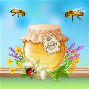 唯美蜂蜜美食廣告促銷矢量素材