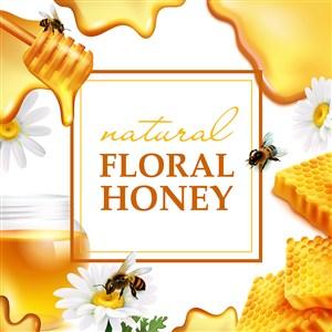 美味誘人蜂蜜廣告海報矢量模板