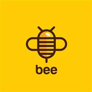 創意卡通蜜蜂圖標logo設計矢量圖