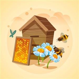 蜜蜂采蜜釀蜜蜂蜜廣告海報矢量素材