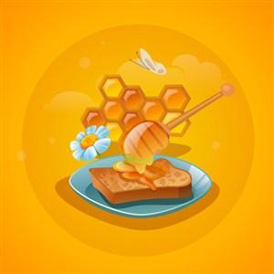 蜂蜜三明治美食廣告海報矢量素材