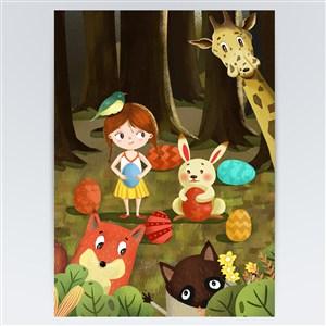 卡通复活节森林动物乐园节日海报设计素材