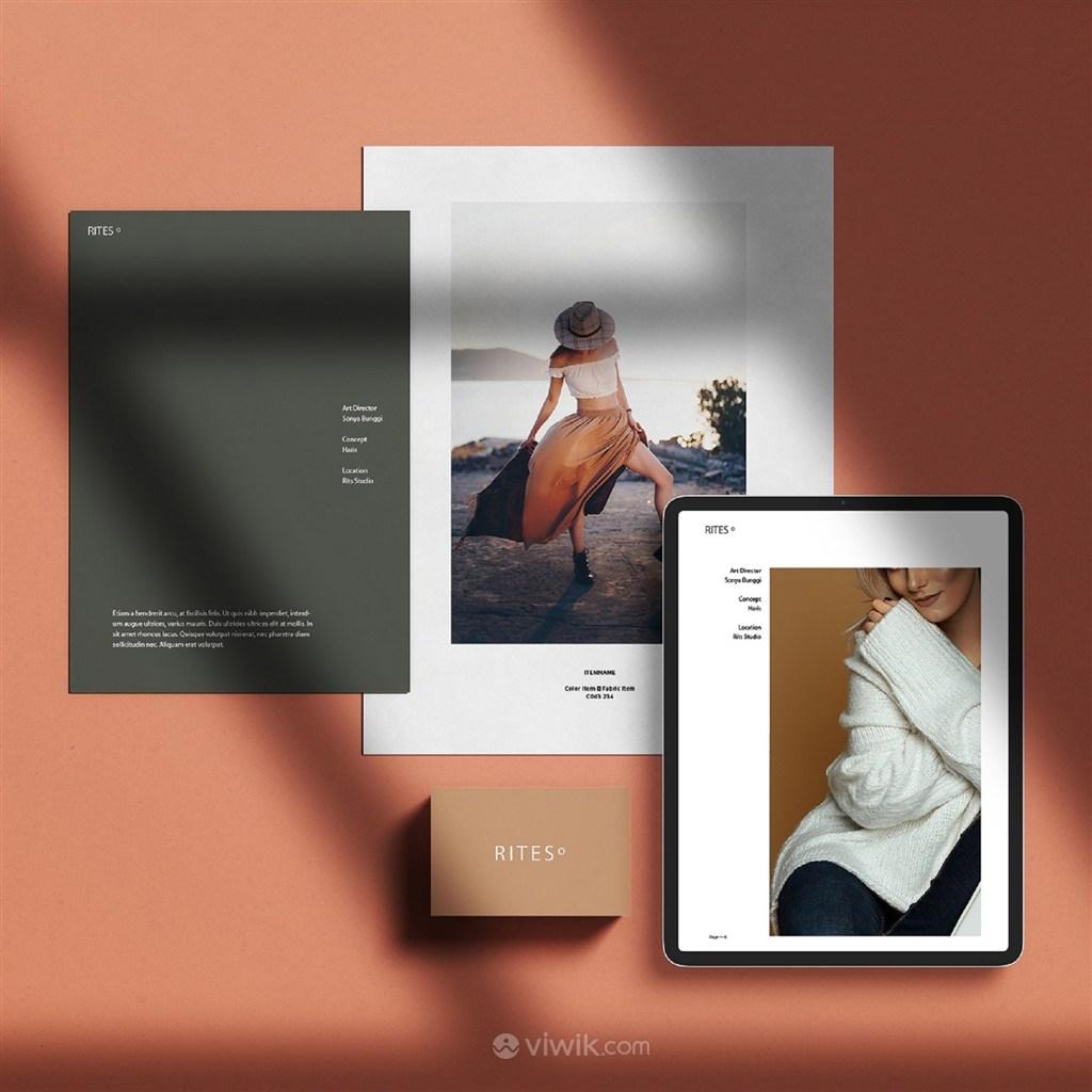女性时尚品牌vi宣传单平板电脑贴图样机