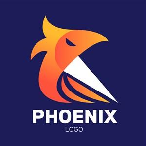 扁平化鳳凰圖標傳媒公司矢量logo