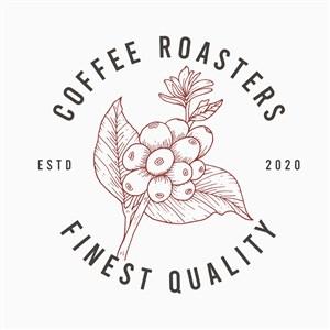 手绘咖啡豆图标咖啡店矢量logo设计素材