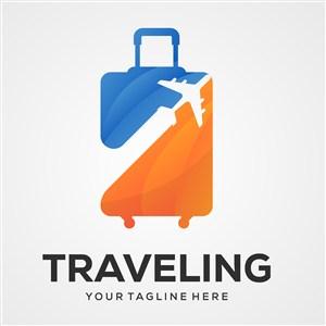 飞机行李箱图标酒店旅游矢量logo