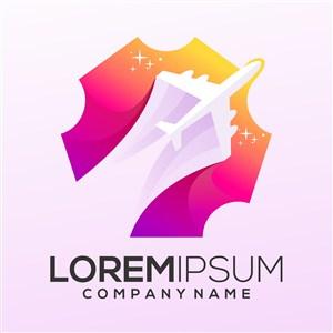 飞机彩色平面标志休闲旅游矢量logo设计素材