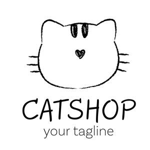 猫头像标志图标宠物店矢量logo设计素材