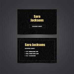 纯黑背景金色文字名片设计.zip