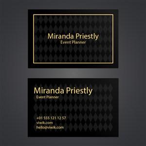 黑色黄金菱形纹理名片设计.zip