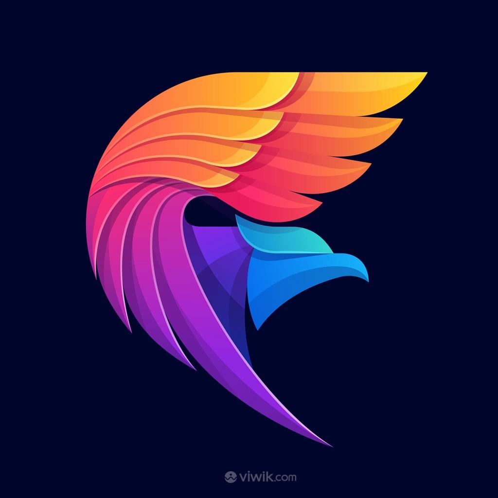 五彩鹰图标商务贸易公司矢量logo