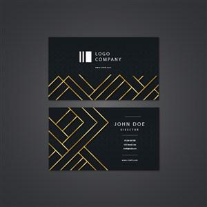 黑色幾何金色條紋名片.zip