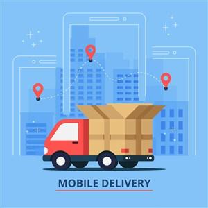 卡车移动运输物流快速达矢量插图