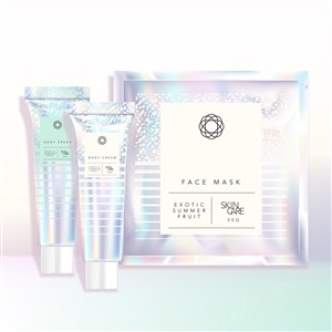 全息彩虹色瓶子面膜化妝品護膚品包裝貼圖樣機