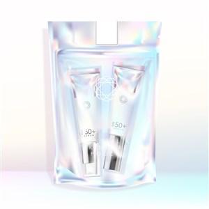 裝有化妝品護膚品的全息彩虹色可重復使用的密封袋包裝貼圖樣機