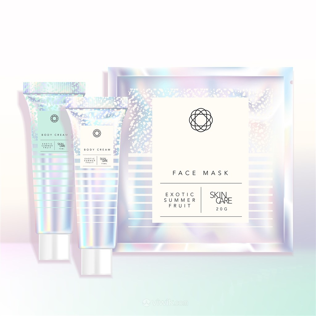 全息彩虹色瓶子面膜化妆品护肤品包装贴图样机