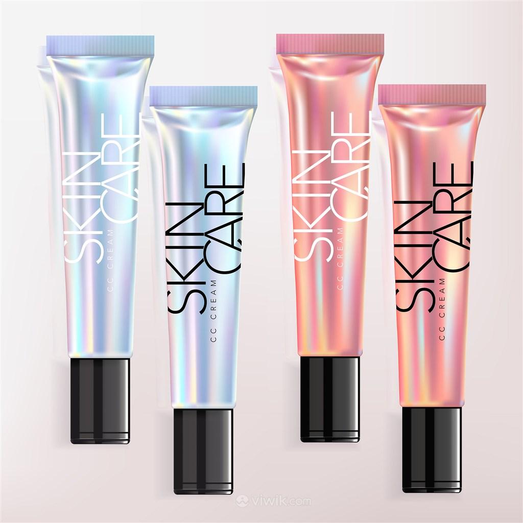 全息彩虹粉底唇彩遮瑕膏化妝品護膚品包裝貼圖樣機