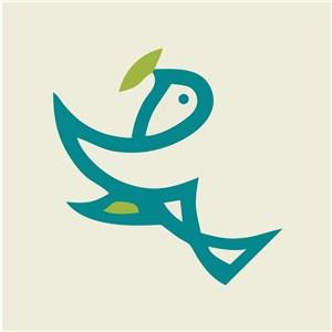銜著樹葉的小鳥標志圖標美容醫療矢量logo設計素材