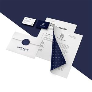 带折页效果的A4文档名片信封贴图样机