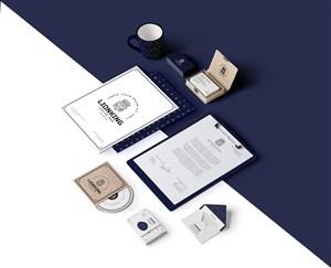 蓝色简约轻奢企业办公用品vi样机模板
