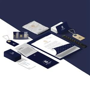 蓝色轻奢企业办公用品vi贴图样机