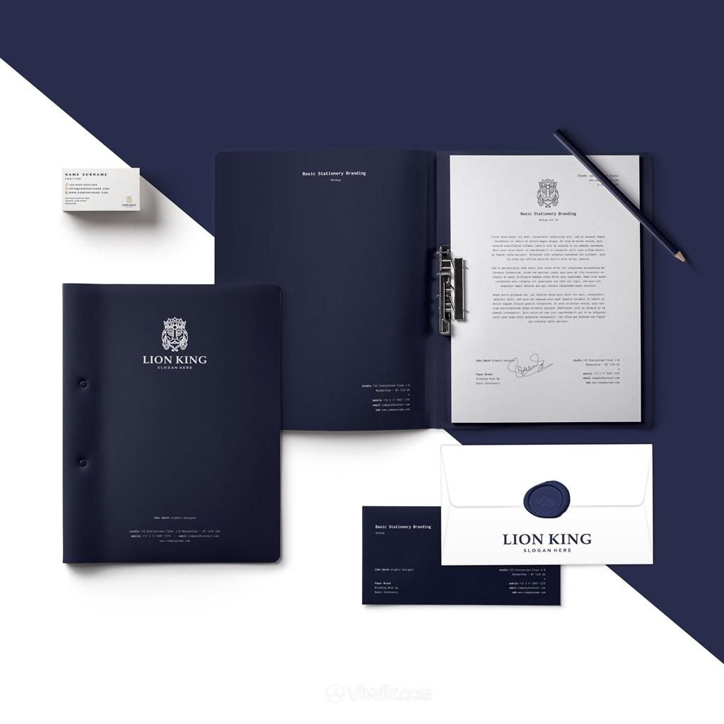 蓝色文件夹信封名片贴图样机