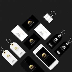黑色轻奢vi手机名片吊牌贴图样机