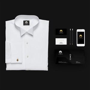 白衬衫手机名片信封贴图样机