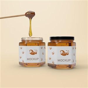 兩瓶六邊形密封玻璃瓶蜂蜜包裝貼圖樣機