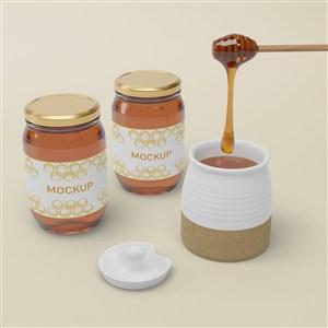 兩瓶橢圓形密封玻璃瓶蜂蜜包裝貼圖樣機