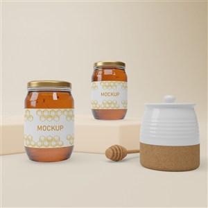 陶瓷罐和兩瓶密封玻璃瓶蜂蜜包裝貼圖樣機