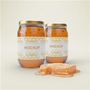 蜂巢和兩瓶橢圓形密封玻璃瓶蜂蜜包裝貼圖樣機