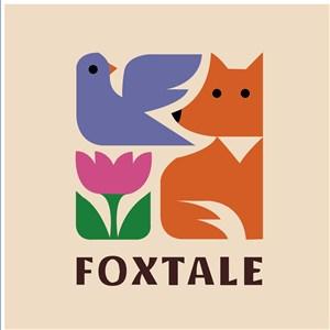 花鳥狐貍標志圖標酒店旅游矢量logo設計素材