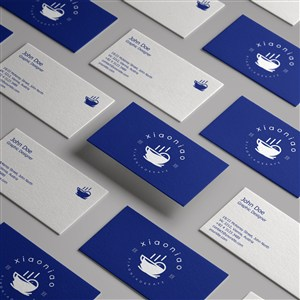 蓝色简约创意咖啡厅名片正反面贴图样机