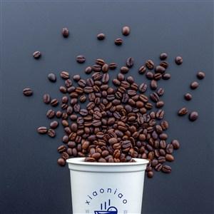 咖啡豆和一次性纸杯咖啡杯贴图样机
